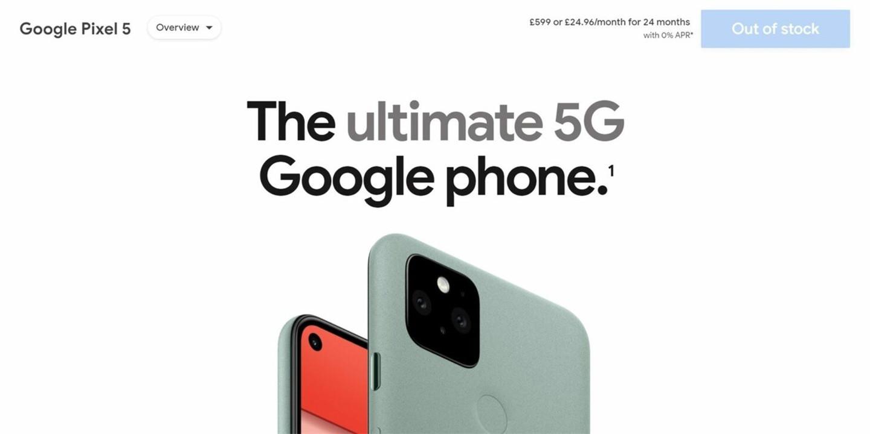 谷歌Pixel5出货量或不到一百万部,已出现缺货现象