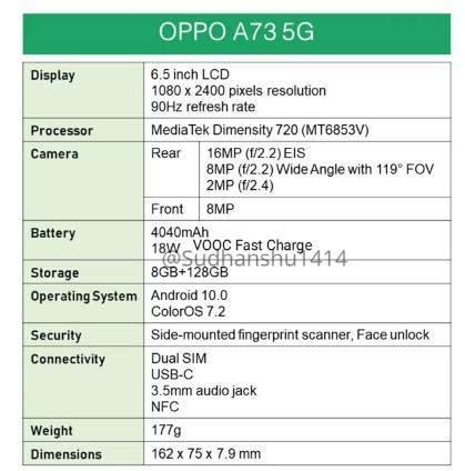 oppoa73 5G渲染图曝光:6.5英寸+后置矩阵式三摄