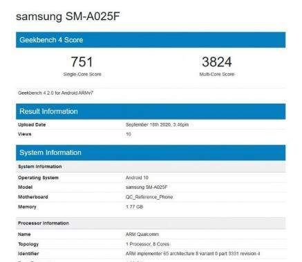 三星GalaxyA02新机通过认证,搭载骁龙450处理器