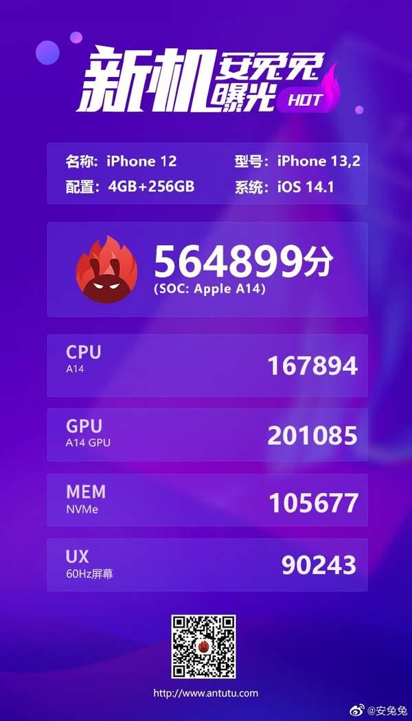 iPhone12/Pro安兔兔跑分曝光,两者跑分相差不大