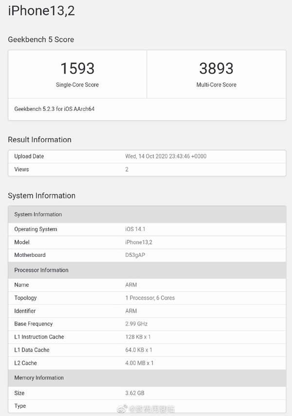 iPhone12/Pro跑分公布,苹果A14处理器性能第一
