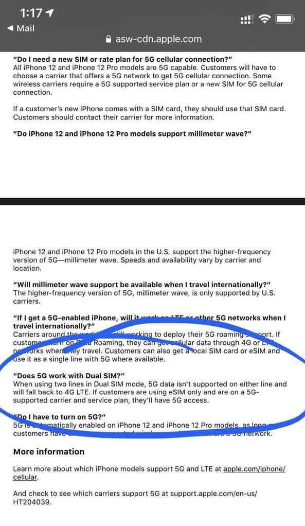 iPhone12美版双卡模式下暂不支持5G,国行版可能不受影响