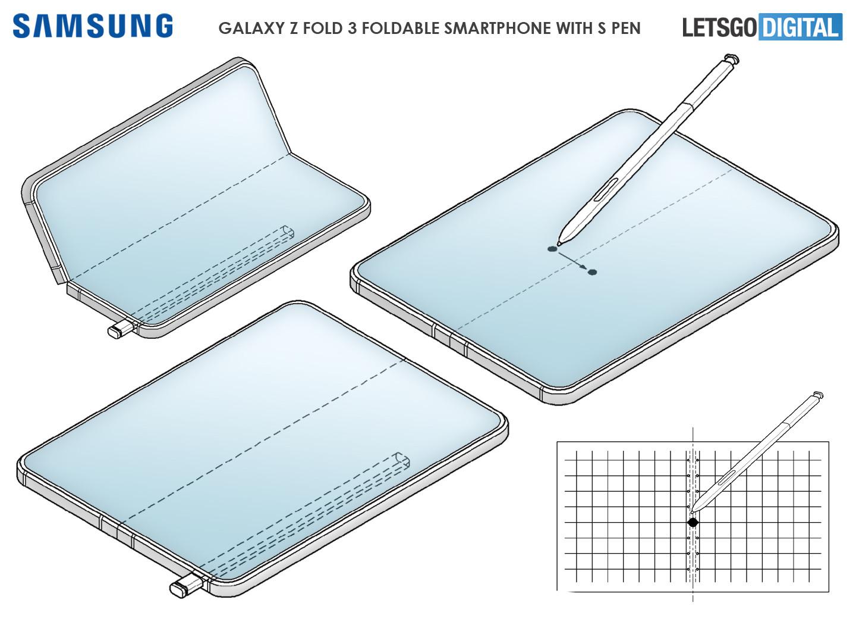 三星GalaxyZFold3专利曝光,Spen触控笔稳了!
