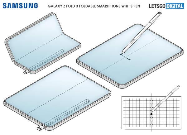 三星GalaxyZFold3專利曝光,Spen觸控筆穩了!