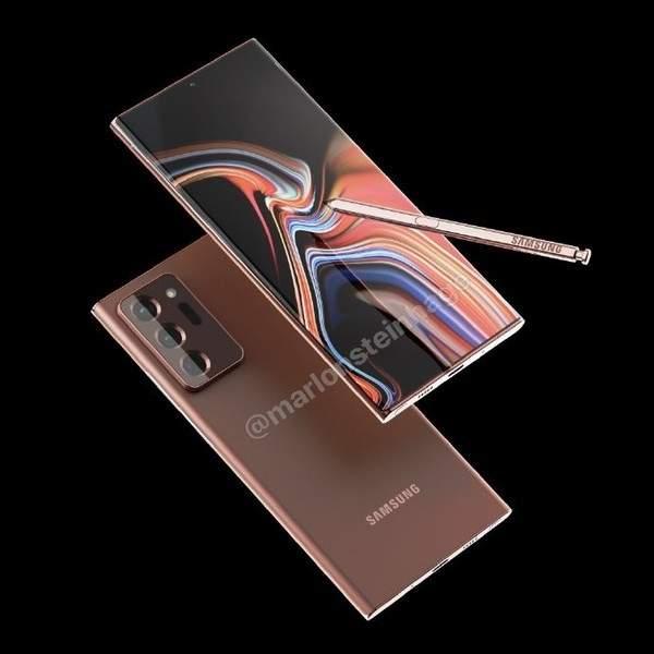 三星Galaxy Note20 Ultra新配色曝光,古铜色渲染图展示
