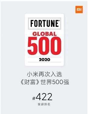 世界500强中国企业,小米再升46名