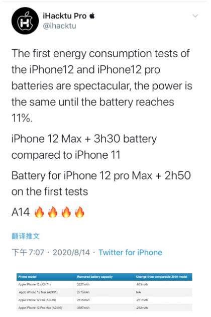 iPhone 12系列电池曝光:容量缩减续航却提高!
