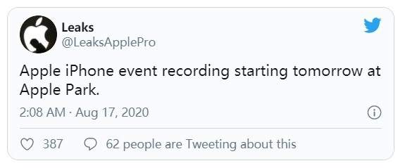 苹果iPhone12主题演讲已开始录制,最快可在9月份期间播出