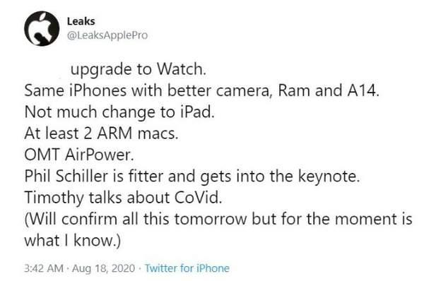 苹果 iPhone 12 主题演讲细节曝光:AirPower即将回归!