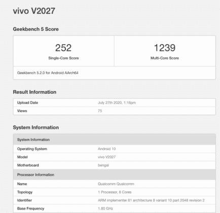 vivo Y20跑分曝光:将搭载骁龙460处理器