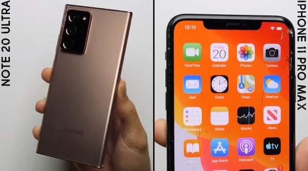 三星Note20Ultra和iPhone11ProMax跌落测试对比,看看谁更耐摔