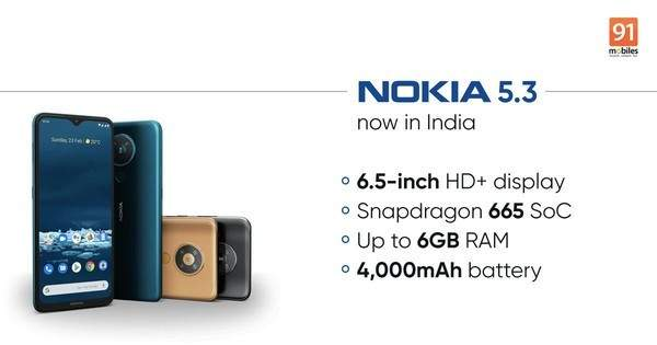 诺基亚5.3在印度上市,搭载骁龙665处理器_XDA智能手机网