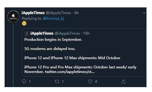 iPhone12Pro将推迟发布,或因新款5G部件短缺