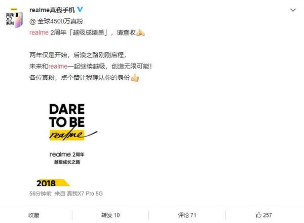 Realme两周年成绩单:用户已超4500w!