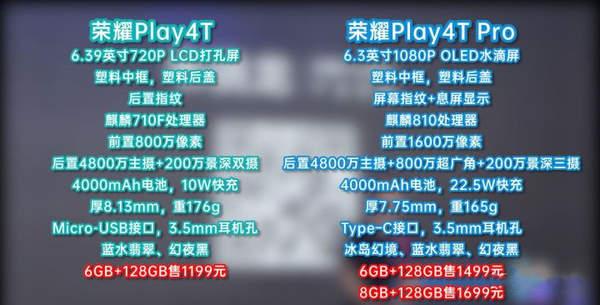 荣耀play4t和荣耀play4tpro区别是什么?怎么进行选择?