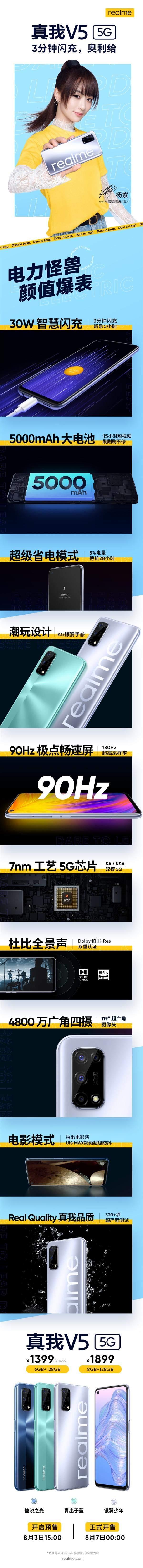 杨紫同款,5G手机最低门槛Realme V5,到手仅需1399元