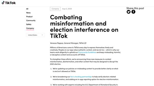 TikTok内容政策更新,为美国大选做准备