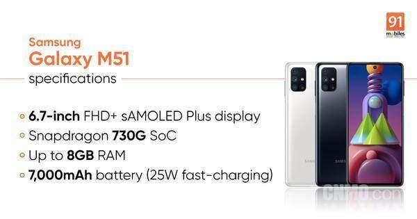 三星Galaxy M51正式上市,起售价2300元搭载7000mAh大电池