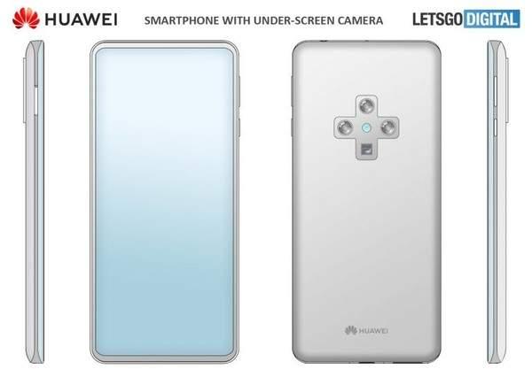 华为屏下摄像头手机外观曝出,后置采用十字形四摄