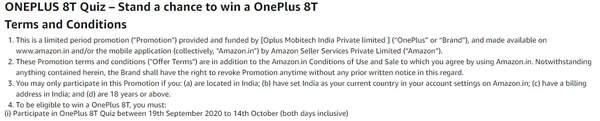 亚马逊确认一加8T发布时间,将在10月14日登场