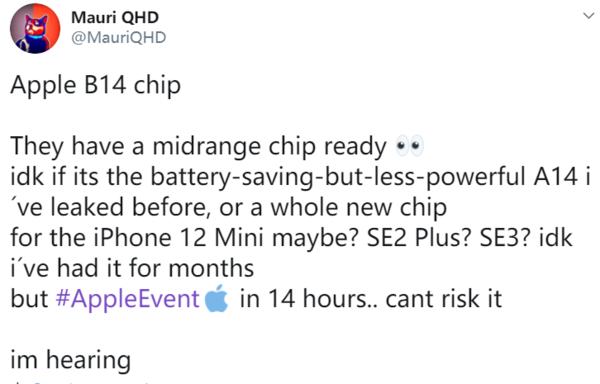 苹果B14处理器曝光,将在iPhone12mini上首发