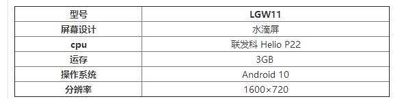 LGW11参数配置曝光:搭载联发科HelioP22 处理器