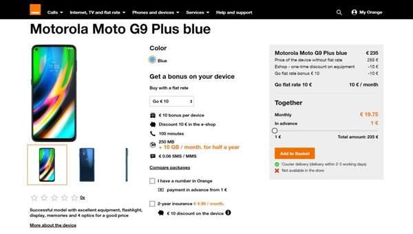 摩托罗拉Moto G9 Plus参数曝光:6.8英寸屏+5000mAh电池